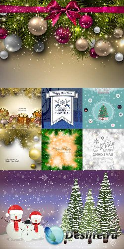 Новогодние фоны со снеговиками, шариками и подарками - векторный клипарт