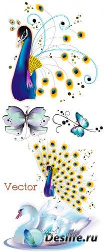 Подборка сказочного векторного клипарта – Жар птица, лебедь и бабочки