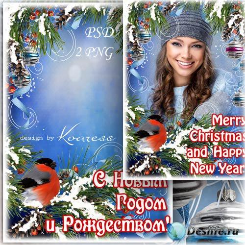 Праздничная открытка-рамка для фотошопа со снегирем - С Новым Годом и Рожде ...