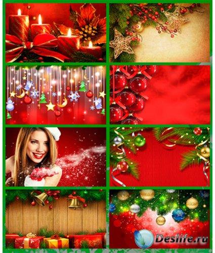 Красные Новогодние фоны - фотоподборка / Christmas backgrounds