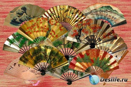 Клипарт Японские веера с соснами, кленами и журавлями