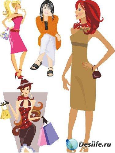 Девушки и женщины (векторные отрисовки) часть 3