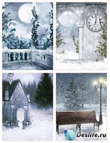 Готические зимние фоны для коллажей