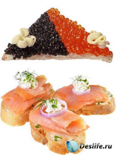Бутерброды с морепродуктами: рыба, икра (подборка изображений)