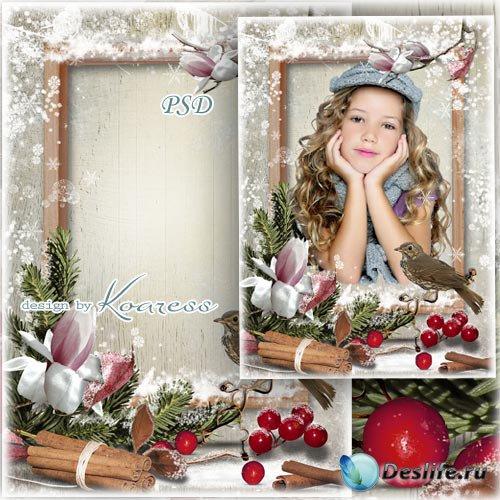 Романтическая рамка для фотошопа - За окном зима-волшебница