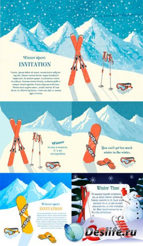 Зимние виды спорта - векторный клипарт