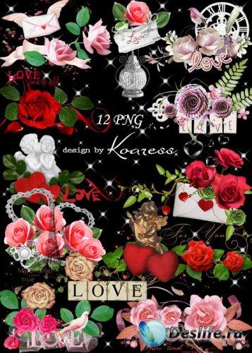 Романтические png кластеры для фотошопа к Дню Всех Влюбленных с алыми сердц ...