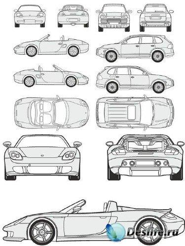 Автомобили Porsche - векторные отрисовки в масштабе