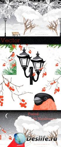 Зимнии фоны в Векторе с декоративными фонарями и снегирями