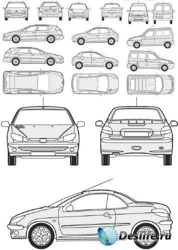 Автомобили Peugeot - векторные отрисовки в масштабе