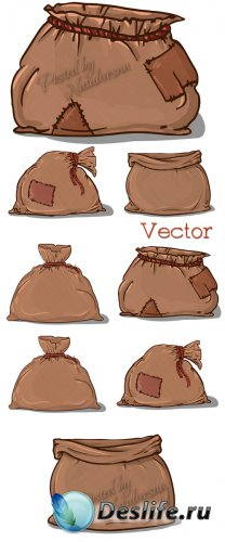 Подборка векторного клипарта – Мешочки с заплаткой