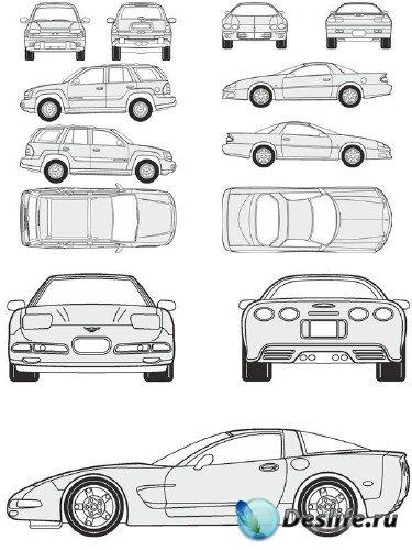 Автомобили Chevrolet - векторные отрисовки в масштабе