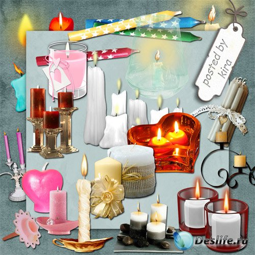 Клипарт на прозрачном фоне - Большая подборка свечей
