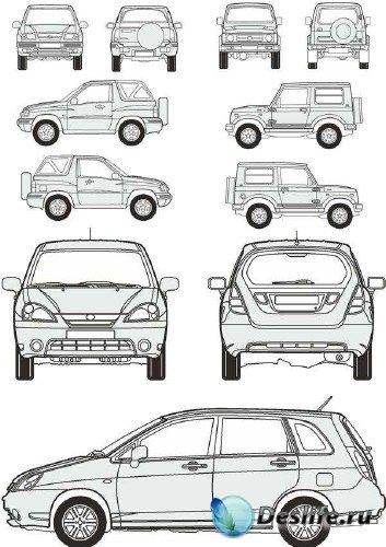 Автомобили Suzuki - векторные отрисовки в масштабе