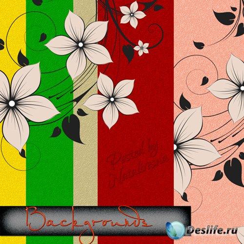 Текстуры для Дизайна – Цветная, нежная пастель с красивыми цветами