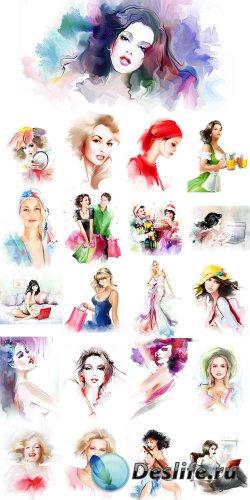 Нарисованные образы роскошных девушек - растровый клипарт