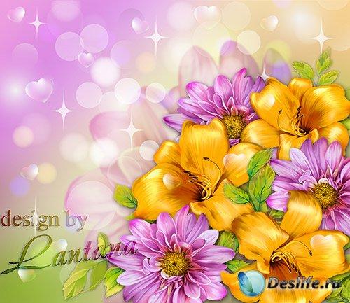 Psd исходник - Желтые лилии