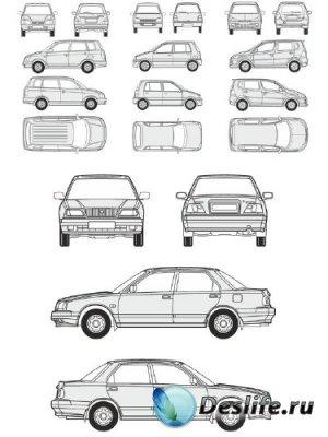 Автомобили Daihatsu - векторные отрисовки в масштабе