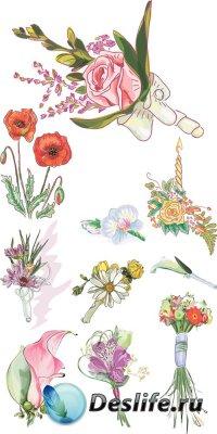 Сборник нарисованных цветов - векторный клипарт