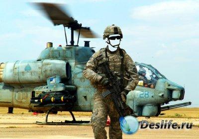 Костюм для фотошопа  - Солдат у вертолета