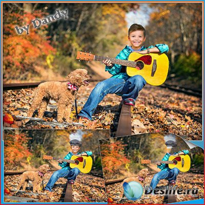Костюм для фотошопа - мальчик с гитарой и собачкой