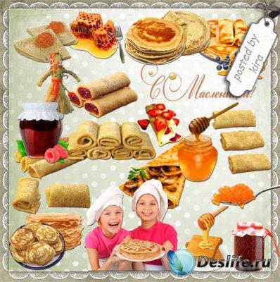 Клипарт на прозрачном фоне - Масляные блины с вареньем, медом и ягодами