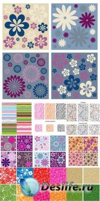 Бесшовные цветочные фоны и узоры - векторный клипарт
