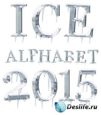 Алфавит: Лед и сосульки, латинские буквы и цифры (прозрачный фон)