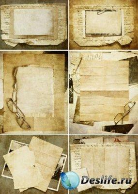 Старые фото и старые бумаги (коллекция винтажных фонов)