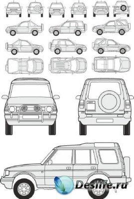 Автомобили Land Rover - векторные отрисовки в масштабе