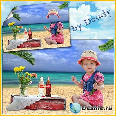 Костюм для фотошопа - Девочка с цветочком возле моря