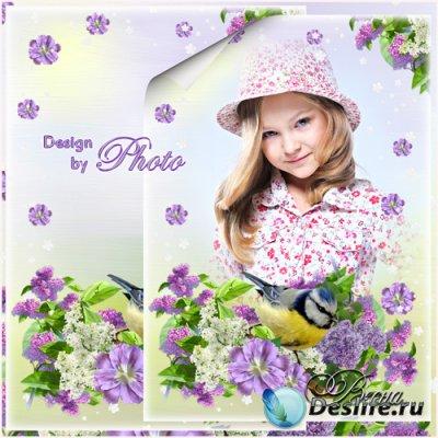 Весенняя рамка для фото - Сирень в цвету