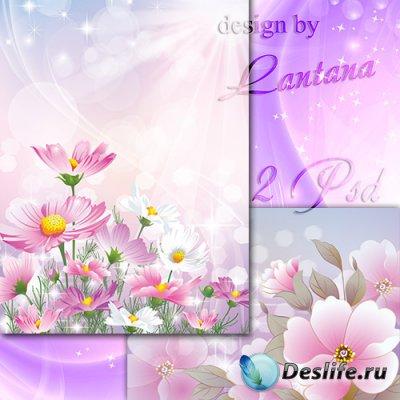 Многослойные фоны - Розовые цветы в дымке облаков