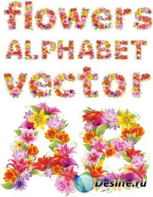 Алфавит в векторе: Красивые цветы (строчные и прописные буквы)