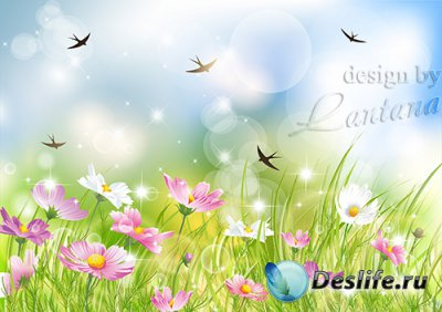 PSD исходник - Ласточки вернулись, небо улыбнулось, зацвели поля