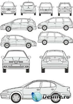 Автомобили Seat - векторные отрисовки в масштабе