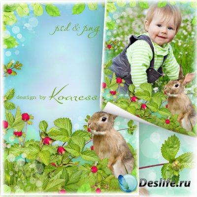 Детская летняя рамка для фотошопа с зайчиком - На  полянке земляничной