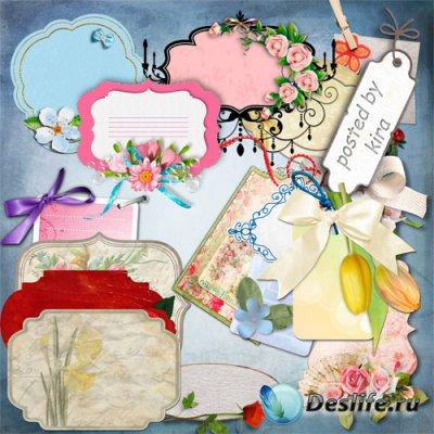 Клипарт для оформления - Ярлыки и бирки с цветами