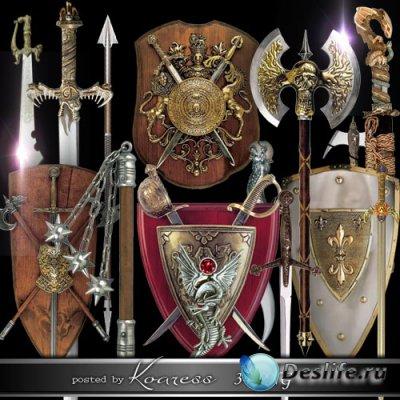 Клипарт на прозрачном фоне для дизайна - Щиты, мечи, алебарды и другое стар ...