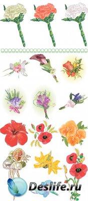 Акварельные цветочные композиции - векторный клипарт