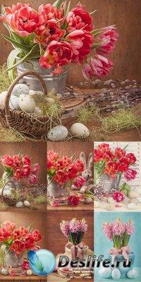 Цветочные пасхальные фоны - растровый клипарт