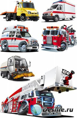 Стилизованный транспорт: эвакуатор, скорая помощь, пожарная, мусоровоз, выш ...