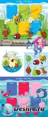 Школьное расписание с букашками  - Подборка детского векторного