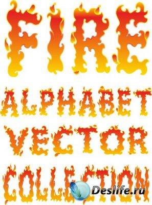 Алфавит в векторе: Огонь, языки пламени