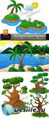 Детский клипарт в Векторе  - Пальмы и деревья