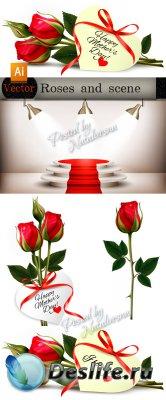 Цветочные композиции в Векторе  - Красные розы и сцена