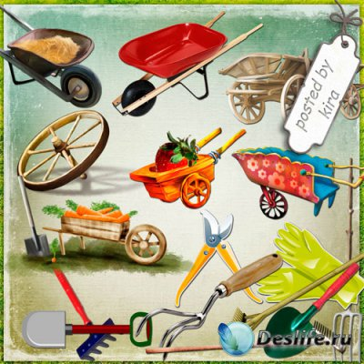 Клипарт - Инвентарь для сада и огорода, телеги, тачки