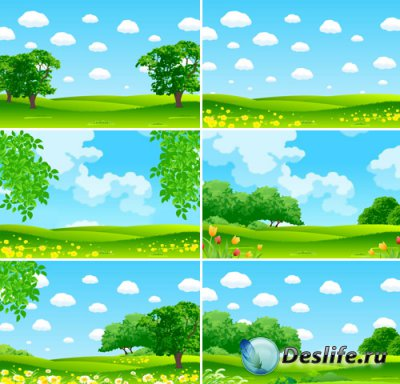 Зеленые пейзажи - набор детских фонов