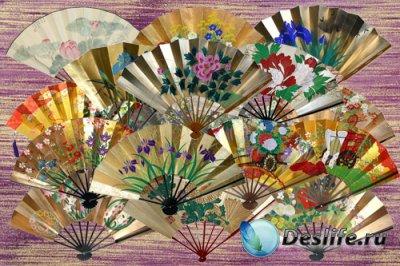 Клипарт Японские вееры с весенними и летними цветами