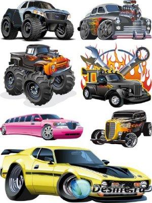 Стилизованный транспорт: Легковые Автомобили (прозрачный фон)